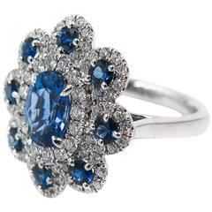 Sapphire Diamond Flower white gold Ring