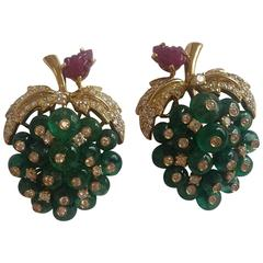 1970 Italian Important Emerald Diamonds gold Grapes Earrings