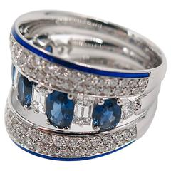 Sapphire Diamond Wide Band ring