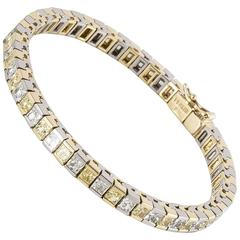 Platinum 18 Karat Yellow and White Diamond Bracelet