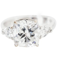 3.52 Carats GIA Certified Cushion Cut Diamond Platinum Engagement Ring