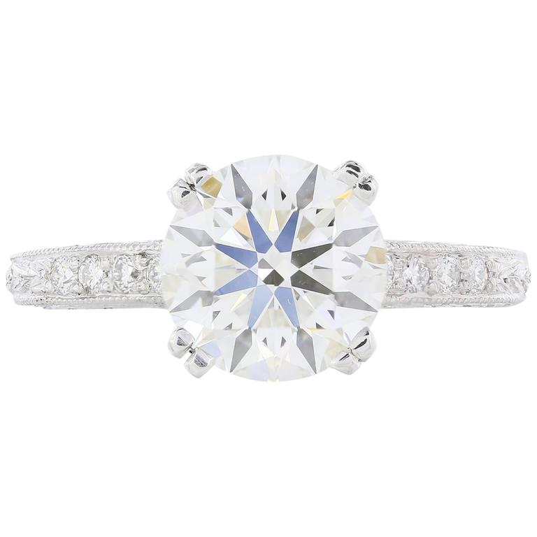 2.43 Carat GIA Certified Round Brilliant Cut diamond Platinum Engagement Ring