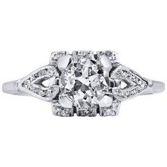Platinum Art Deco 0.93 Carat Diamond Engagement Ring Size 5.5