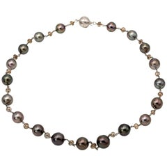 Black Tahitian Pearl and Champagne Diamond Bead Necklace in White Gold