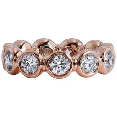 GIA CERT 3.30 Carat Bezel Set Diamonds Rose Gold Eternity Band Ring
