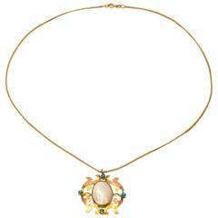 Antique 9 Karat Yellow Gold Irregular Fresh Water Pearl Pendant