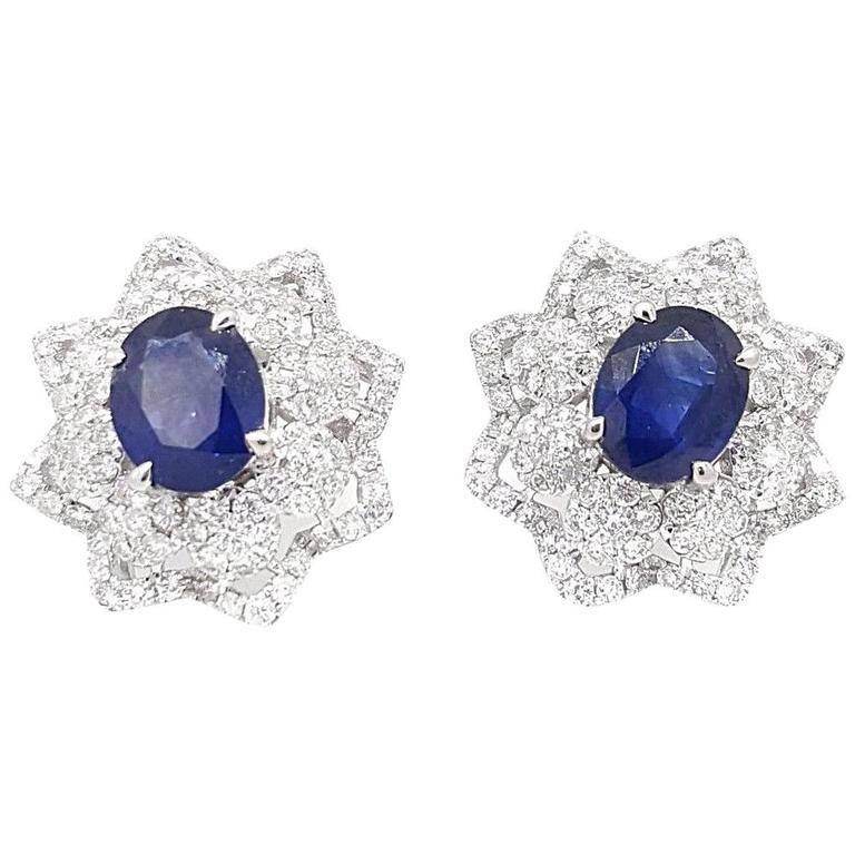 Oval Blue Sapphire Diamond White Gold Star Button Earrings