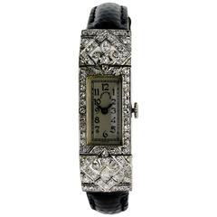 Tiffany & Co. Ladies Platinum Art Deco Manual Winding Dress Wristwatch