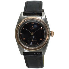 Rolex Rose Gold Stainless Steel Bubble Back Thunderbird Bezel Watch