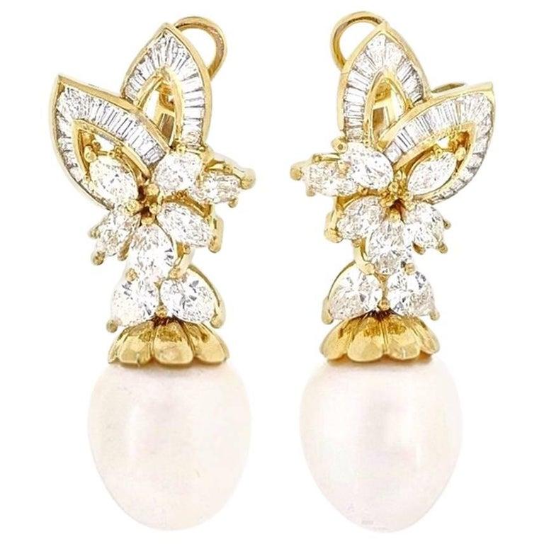 Pearl and Diamond Drop Dangle Earrings in 18 Karat Yellow Gold