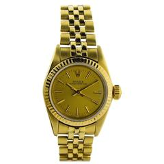 Rolex Ladies Solid Gold Oyster Bracelet Perpetual Wind Watch