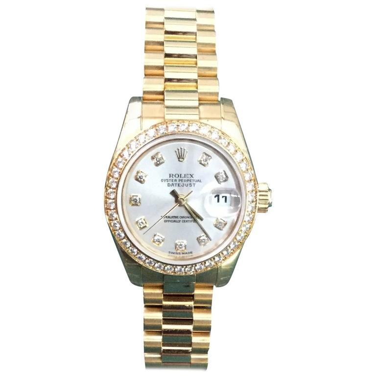 cc36851c4dd Rolex Ladies yellow gold Oyster Perpetual Datejust wristwatch For Sale