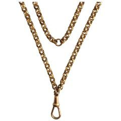 Edwardian Gilt Brass Long Faceted Link Guard Chain Necklace