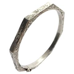 Octagonal Etched Hollow Imported Silver Hinged Bangle Bracelet