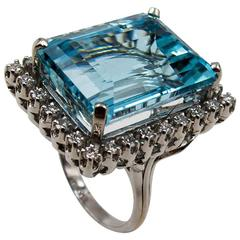 Classic Aquamarine and Diamond Cocktail Ring