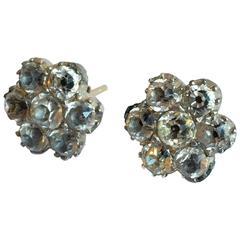 Georgian Black Dot Paste Flower Silver Gold Cluster Stud Earrings