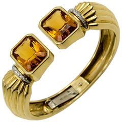 Roberto Legnazzi Monochrome Gold Citrine Topaz Diamond Cuff Bracelet