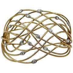 Elegant Diamond Gold Hair Barrette