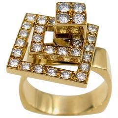 1970s Diamond Gold Spinner Ring
