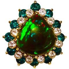 Michael Kneebone Black Opal Tsavorite Garnet Diamond Cocktail Ring