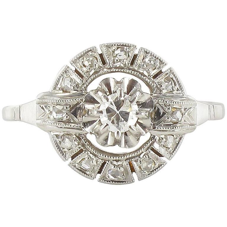 French 1920s Antique Round Diamond Ring