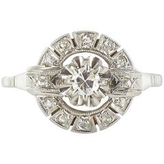French 1920s Antique Round Diamond Ring