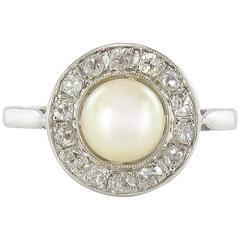 1900s Antique Japon Pearl and Rose Cut Diamond Platinum Ring
