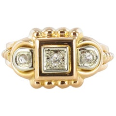 1950s French Diamond Tank Yellow Gold Ring