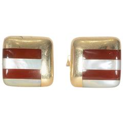 Asch Grossbardt Carnelian gold Mother-of-Pearl Cufflinks