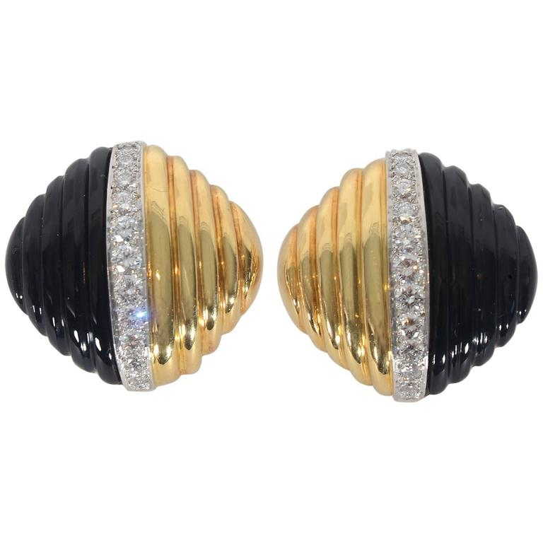 Trianon Carved Onyx Diamond Gold Ear Clips