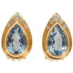 Burle Marx Blue Topaz Diamond Earrings