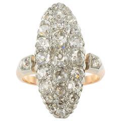 Marquise Shaped Antique Diamond Yellow Gold Platinum Ring
