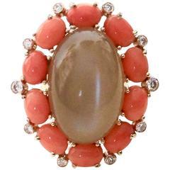 Michael Kneebone Peach Moonstone Pink Coral Diamond Cocktail Ring