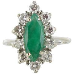 French 1970s White Gold Emerald Diamond Retro Marquise Ring