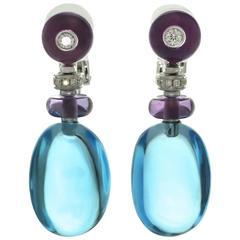 Bulgari Sassi Multi-Color Gemstone White Gold Earrings