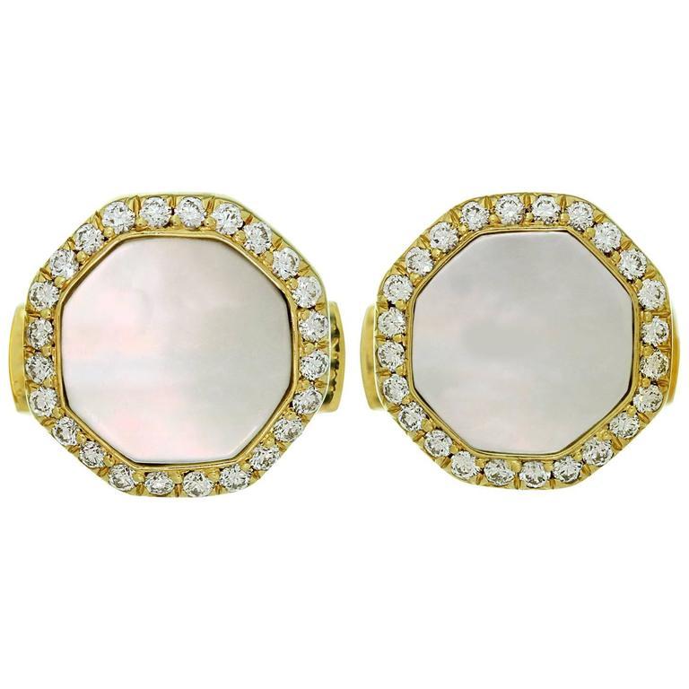 Van Cleef & Arpels Mother-of-Pearl Diamond Yellow Gold Octagon Cufflinks