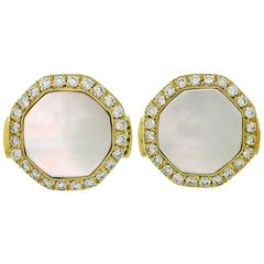 Van Cleef & Arpels Mother-of-Pearl Diamond Yellow Gold Octagon Cufflinks
