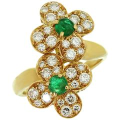 Van Cleef & Arpels Trefle Diamond Emerald Yellow Gold Double Flower Ring