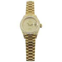 Rolex Ladies Yellow Gold Datejust President Factory Diamond Automatic Wristwatch