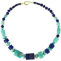 Lapis Lazuli Amazonite Gold Necklace