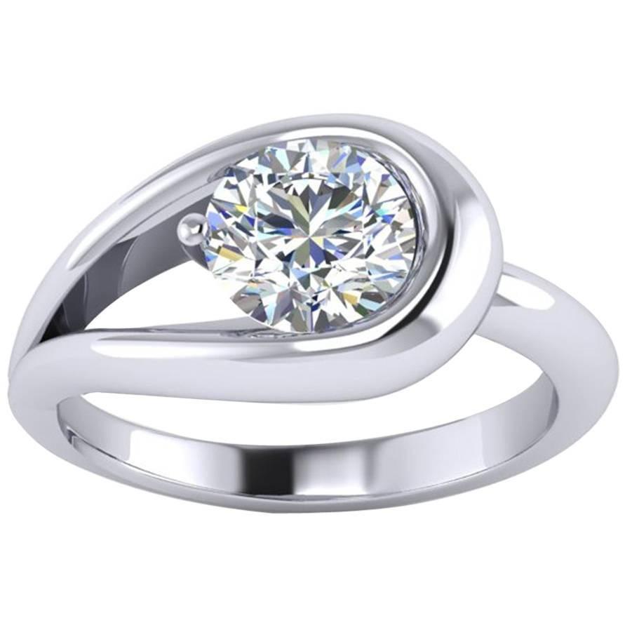 1.06 Carat GIA Certified Round Diamond 18k White Gold Engagement Ring
