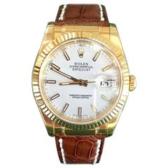 Rolex Gold yellow gold Oyster white dial Perpetual Datejust wristwatch