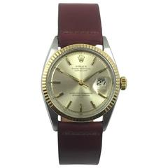 Rolex stainless Steel Gold Oyster Perpetual Datejust Wristwatch, 1960s