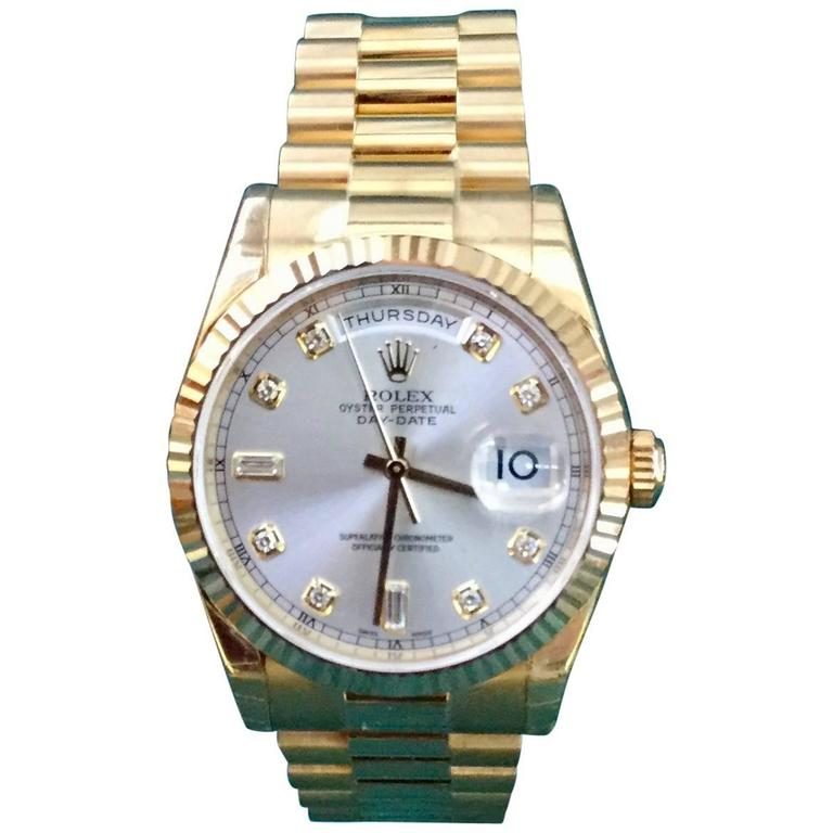 Rolex yellow Gold Oyster Perpetual Day-Date Silver Diamond Dial wristwatch For Sale