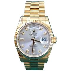 Rolex yellow Gold Oyster Perpetual Day-Date Silver Diamond Dial wristwatch