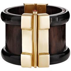 Fouché Bespoke Horn Wood Ruby Emerald Opal Cuff Bracelet
