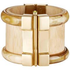 Fouché Bespoke Horn Wood Ruby Emerald Fire Opal Cuff Bracelet