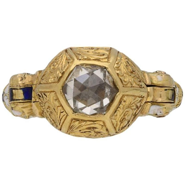 Rare Renaissance Rose Cut Diamond Key Ring Circa 17th