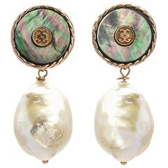 CdG Style Black Mother-of-Pearl Rose Gold Baroque Pearl Earrings Made in Italy