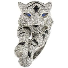 Cartier Pantheré Onyx Sapphire Diamond Platinum Ring